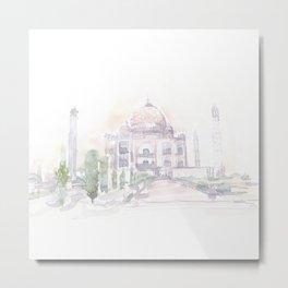 Watercolor landscape illustration_India - Taj Mahal Metal Print