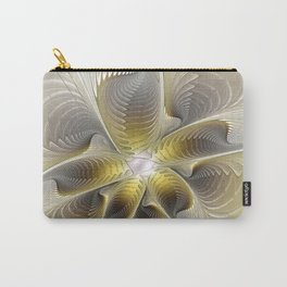 Gold And Silver, Abstract Flower Fractal Carry-All Pouch