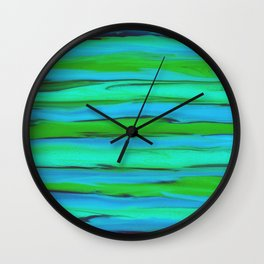 Apple Green, Seafoam, and Azure Blue Stripes Abstract Wall Clock