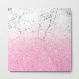 Pink Gold Glitter and Grey Marble Metal Print