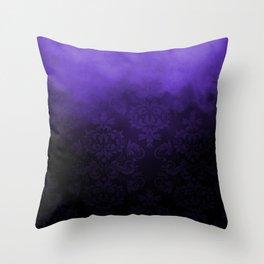 Purple Cloudy Damask Throw Pillow