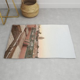 Pastel Sunset Colors Of Marrakech Photo | Coral Rooftop Design Art Print | Morocco Travel Photography Rug