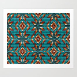 Modern colorful beaded boho aztec kilim pattern on teal Art Print