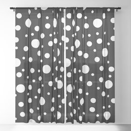 White on Black Polka Dot Pattern Sheer Curtain