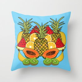 Turquoise Tropical Fruit Throw Pillow