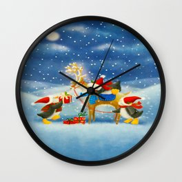 Penguin and Reindeer Christmas Wall Clock