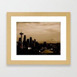 Seattle Skyline Day Framed Art Print