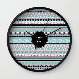 Monogram Tribal Pattern *Z* Wall Clock