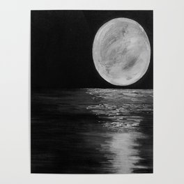 Moonlit. Sunset, water, moon, full moon, orginal painting by Jodilynpaintings. Black and white Poster