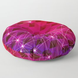 Gradient Purple Red Orange Hexagons Connected by White Nodes and Lines Floor Pillow