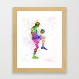 man soccer football player Framed Art Print