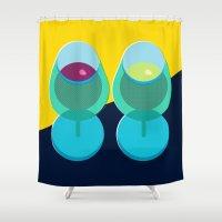 wine Shower Curtains featuring Wine by Sam Osborne