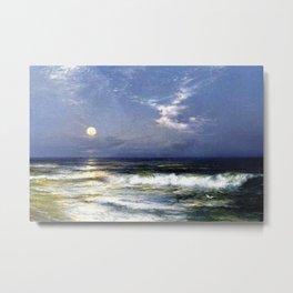 Moonlit Beach Seascape No. 1 landscape painting by Thomas Moran Metal Print