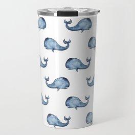 Blue whale watercolor. Navy animal baby pattern. Nautical kids art. Nursery water illustration Travel Mug