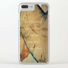 The Voice Of Your Heart Whispers To My Soul - Wind Chimes - Rustic - Wedding - Farmhouse Clear iPhone Case