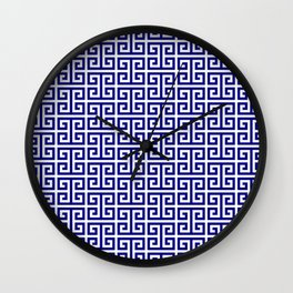 Navy and White Greek Key Pattern Wall Clock
