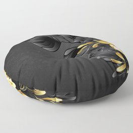 Black Background with Black Orchid Floor Pillow