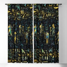 Egyptian Gods and hieroglyphs - Abalone and Gold Blackout Curtain