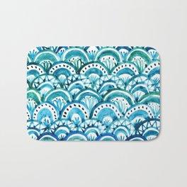 Blue Watercolor Mermaid Pattern Bath Mat