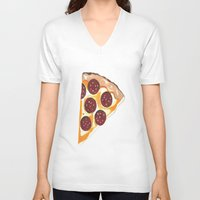 pizza V-neck T-shirts featuring Pizza by Sartoris ART