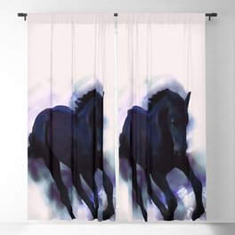 A Friesian foal's morning joy Blackout Curtain