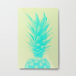 Blue Pineapple Xerox Watercolor + Yellow Metal Print