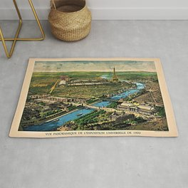 1910 Paris France French Cityscape Map Rug