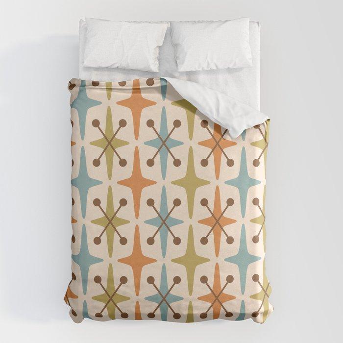 Mid Century Modern Abstract Star Pattern 441 Orange Brown Blue Olive Bettbezug