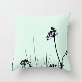 SEA PLANTS GREEN&BLACK Throw Pillow