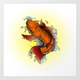 Orange Koi fish tattoo  Art Print