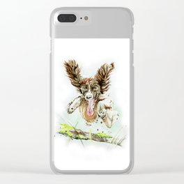 Springing Spaniel Clear iPhone Case