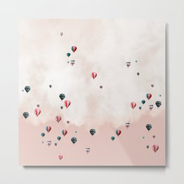 Hotair balloons with sweet cotton candy Metal Print