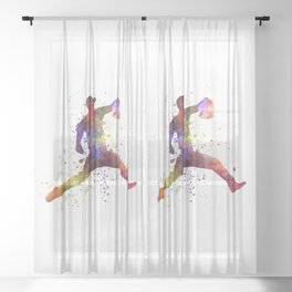 Baseball player throwing a ball 04 Sheer Curtain