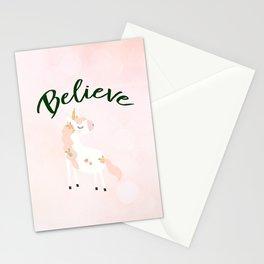 Believe Unicorn Subtle Pink Bokeh Dream Stationery Cards