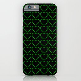Slender metal pattern of green hearts on a black background. iPhone Case