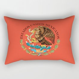 Close up of the Seal from the flag of Mexico on Adobe red background Rectangular Pillow