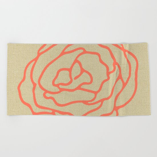 Rose in Deep Coral on Linen Beach Towel