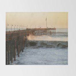 Ventura Pier with Big Wave Throw Blanket