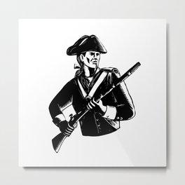 American Patriot Scratchboard Metal Print