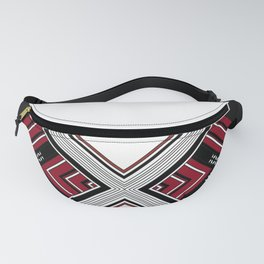 """Abstract Red Black Diamond """"X"""" pattern Fanny Pack"""