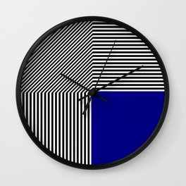 Geometric abstraction, black and white stripes, blue square Wall Clock