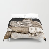 bigfoot Duvet Covers featuring The Daily Bigfoot by The Art of Filippo Borghi