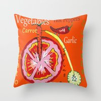 vegetables Throw Pillows featuring Vegetables by Sartoris ART