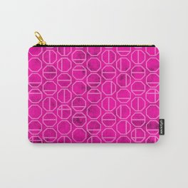 Pink Heaxagon Geomentric Pattern Carry-All Pouch