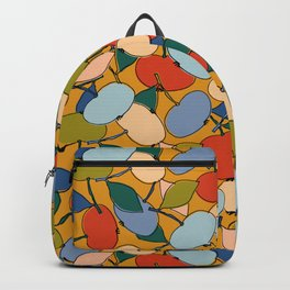 Multicolored abstract apples on a bright yellow background Backpack