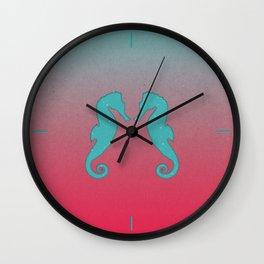 Aqua seahorses Wall Clock