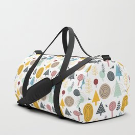 Winter Trees and Birds on Gray Duffle Bag