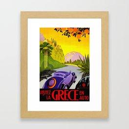 Visit Greece in Auto Travel Framed Art Print