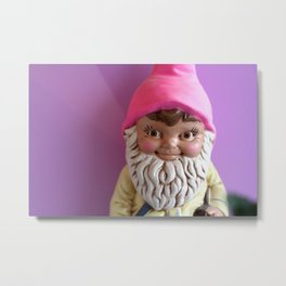 Windowsill Gnome Metal Print