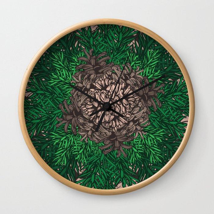 Pine Needles and Cones I Wall Clock